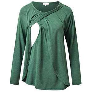Nursing Tee Shirt Layered Tulip Hem Scoop Neck Breastfeeding Tunic Top Green S