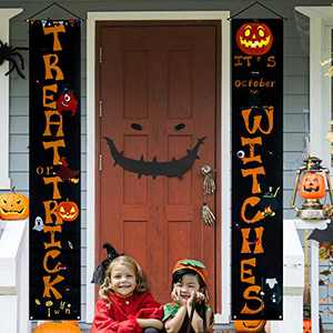 Halloween Decorations Outdoor Trick or Treat & It's October Witches Front Porch Signs For Halloween Home Decor -Halloween Welcome Sign Banners Orange