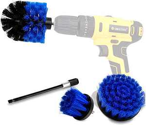 Drill Brush Power Scrubber Brush Cleaning Set 4PCS,Drill Scrub Brushes Kit with Long Attachment,Suitable for Bathroom Surfaces, Tiles, Sinks, Kitchens and Cars Blue (Drill NOT Included)