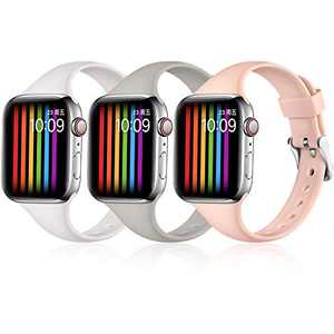 Easuny Sport Band Compatible with Apple Watch 6 Band 40mm iWatch Bands for 5 4 SE Women Men, Soft Silicone Replacement Strap for Apple Watch Band 38mm Series 3 2 1, S/M (White/Pebble Gray/Sand Pink)
