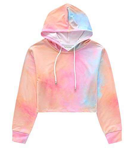 Women's Tie Dye Long Sleeve Workout Crop Top Sweatshirt Hoodies