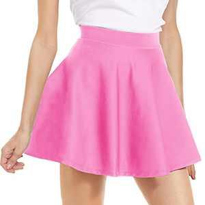 NexiEpoch High Waisted Pleated Mini Skirt - Stretchy Flared Skater Skirt for Women Cute Casual Basic Skirts for Summer