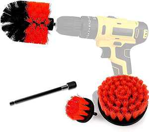 Drill Brush Power Scrubber Brush Cleaning Set 4PCS,Drill Scrub Brushes Kit with Long Attachment,Suitable for Bathroom surfaces, Tiles, Sinks, Kitchens and Cars Red (Drill NOT Included)