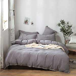 Enipate Tassel Duvet Cover Set 100% Washed Cotton 3 Piece Ultra Soft Bohemian Bedding Set