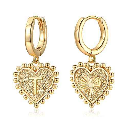 Heart Initial Earrings for Girls Women, S925 Sterling Silver Post Girls Earrings 14k Gold Plated Huggie Hoop Earrings Cute Dainty Letter T Initial Earrings for Girls Kids Teen Girls