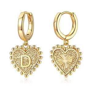 Initial Earrings for Girls Women, S925 Sterling Silver Post Heart Earrings 14k Gold Plated Huggie Hoop Earrings Cute Dainty Letter D Earrings for Girls Kids