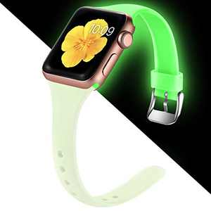 Easuny Sport Band Compatible with Apple Watch 6 Band 40mm iWatch Bands for 5 4 SE Women Men, Soft Narrow Silicone Replacement Strap for Apple Watch Band 38mm Series 3 2 1 Accessory, M/L Luminous Green