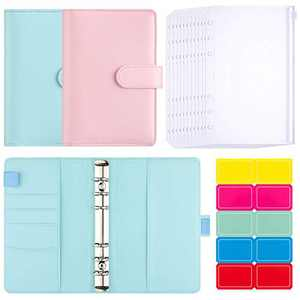 2 Pieces 6-Ring Notebook Binder A6 PU Leather Binder, 12 Pieces 6 Holes A6 Translucent Waterproof PVC Loose Leaf Zipper Folder Bag Binder Pocket, 1 Sheet Self-Adhesive Writable Label for Office School