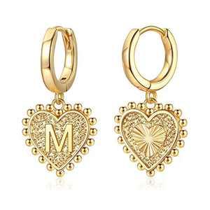 Heart Initial Earrings for Girls Women, S925 Sterling Silver Post Heart Earrings 14k Gold Plated Huggie Hoop Earrings Cute Dainty Letter M Earrings for Girls Kids