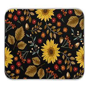 Kitchen Dish Drying Mat Absorbent Water Insulation Dinnerware Protective Pad Bathroom Counter Mat Dishes Rack Mats Medium Sunflowers Leaves 16x18 inch