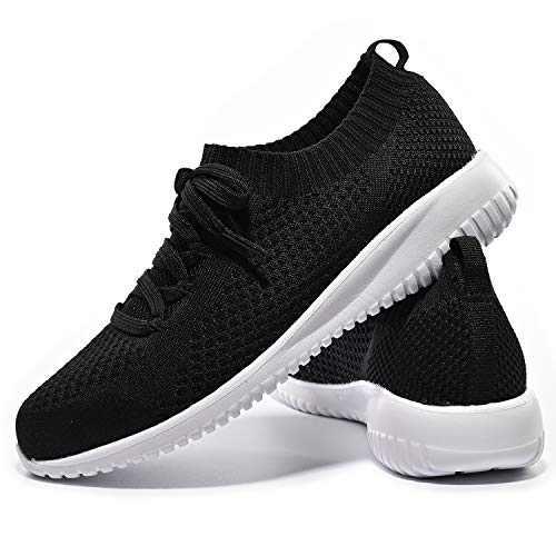 JIUMUJIPU-A04, Women's Lightweight Walking Shoes, Comfortable Walking Shoes with Memory Foam,Flexible Running Shoe (Black/A04-1, Numeric_6)