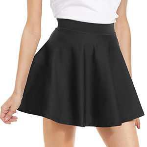 NexiEpoch High Waisted Pleated Mini Skirt - Stretchy Flared Skater Skirt for Women Cute Casual Basic Skirts for Summer Black