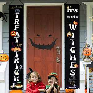 Halloween Decorations Outdoor Trick or Treat & It's October Witches Front Porch Signs For Halloween Home Decor -Halloween Welcome Sign Banners