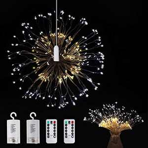 Anpro Firework Lights 2 Packs - 150 LED Warm White and Cold White Lights,DIY Hanging Light with 8 Lightning Modes and Timing Functions,Battery Powered, Romote Control, Low Energy Consumption