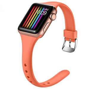 Easuny Sport Band Compatible with Apple Watch Series 6 Band 40mm iWatch Bands for 5 4 SE Women Men, Soft Narrow Silicone Replacement Strap for Apple Watch Band 38mm Series 3 2 1 Accessory, M/L Coral