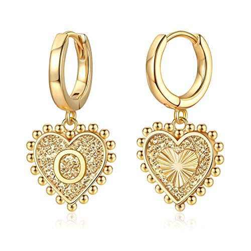 Heart Initial Earrings for Girls Women, S925 Sterling Silver Post Girls Earrings 14k Gold Plated Huggie Hoop Earrings Cute Dainty Letter O Initial Earrings for Girls Kids Teen Girls