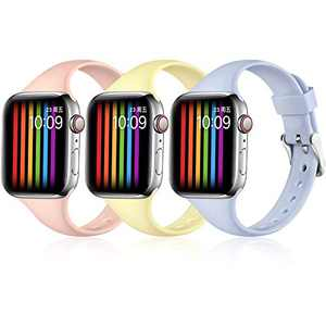 Easuny Sport Band Compatible with Apple Watch 40mm 38mm Series 6 5 4 3 2 1 & iWatch SE for Women Men, Soft Narrow Silicone Replacement Strap iWatch Band Accessory, S/M (Sand Pink/Lilac/Mlik Yellow)