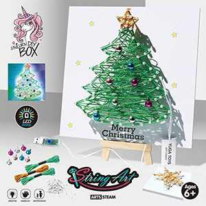 oqpa String Art Kit Crafts Games DIY Toys for 6-20 Years Old, String Art Cute Cartoon 3D Fun Colorful Design String Art Kits for Girls Adults Kids Boys and Teens Children - Lighting Christmas Tree