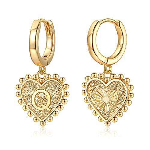 Heart Initial Earrings for Girls Women, S925 Sterling Silver Post Girls Earrings 14k Gold Plated Huggie Hoop Earrings Cute Dainty Letter Q Initial Earrings for Girls Kids Teen Girls