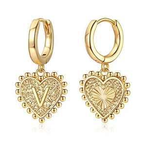 Heart Initial Earrings for Girls Women, S925 Sterling Silver Post Heart Earrings 14k Gold Plated Huggie Hoop Earrings Cute Dainty Letter V Earrings for Girls Kids