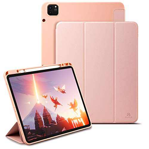 Holidi Case for iPad Pro 10.2 2020/2019 Case (7th/8th Gen), iPad Pro 10.2 inch Case with Apple Pencil Holder, Auto Sleep/Wake, Trifold Stand. Slim Lightweight Protective Case Cover. Pink
