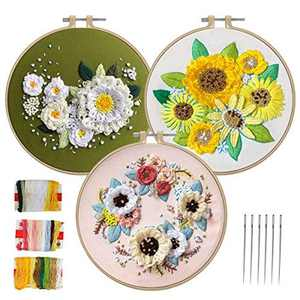 Aceshop 3 Pack Embroidery Starter Kit with Pattern and Instructions Full Range of Cross Stitch kit Include 3 Embroidery Clothes with Floral Pattern, 3 Plastic Embroidery Hoops, Color Threads and Tools