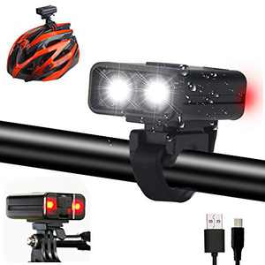 Mini Bike Helmet Light Safety Lights Compatible with GoPro Mounts, 200 lumens MTB Bicycle Light 2 Hours for Daylight Night Riding with Integrated Red Flashing Blinkers Biking