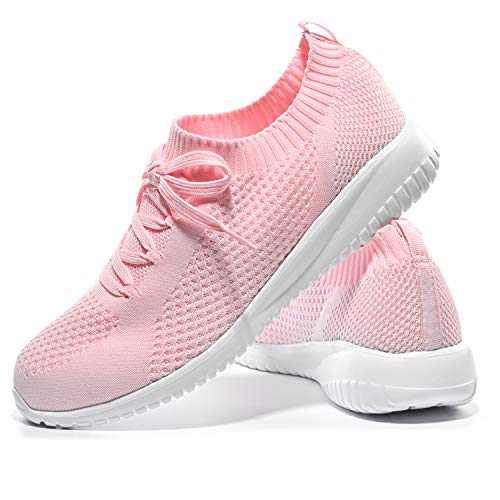 JIUMUJIPU-A04, Women's Lightweight Walking Shoes, Comfortable Walking Shoes with Memory Foam,Flexible Running Shoe (Pink/A04-5, Numeric_8_Point_5)