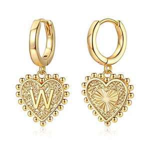 Heart Initial Earrings for Girls Women, S925 Sterling Silver Post Girls Earrings 14k Gold Plated Huggie Hoop Earrings Cute Dainty Letter W Initial Earrings for Girls Kids Teen Girls