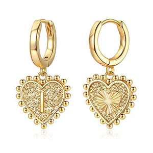 Heart Initial Earrings for Girls Women, S925 Sterling Silver Post Girls Earrings 14k Gold Plated Huggie Hoop Earrings Cute Dainty Letter I Initial Earrings for Girls Kids Teen Girls