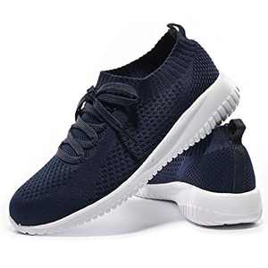 JIUMUJIPU-A04, Women's Lightweight Walking Shoes, Comfortable Walking Shoes with Memory Foam,Flexible Running Shoe (Dark Blue/A04-4, Numeric_9)