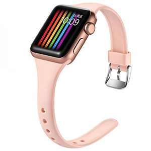 Easuny Sport Band Compatible with Apple Watch Series 6 Band 40mm iWatch Bands for 5 4 SE Women Men, Soft Silicone Replacement Strap for Apple Watch Band 38mm Series 3 2 1 Accessory, M/L Sand Pink