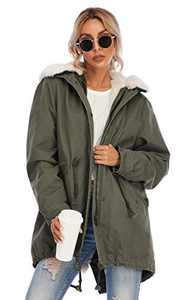 TIENFOOK Womens Parka Jacket Winter Coat with Drawstring Waist Thicken Fur Hood Lined Warm Detachable Design Outwear Jacket (B-Army Green, Medium)