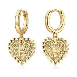 Heart Initial Earrings for Girls Women, S925 Sterling Silver Post Girls Earrings 14k Gold Plated Huggie Hoop Earrings Cute Dainty Letter F Initial Earrings for Girls Kids Teen Girls