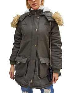 Women's Hooded Parka Coat Warm Winter Jacket with Faux Fur Lined Zipper Outwear Overcoat Thicked Coat