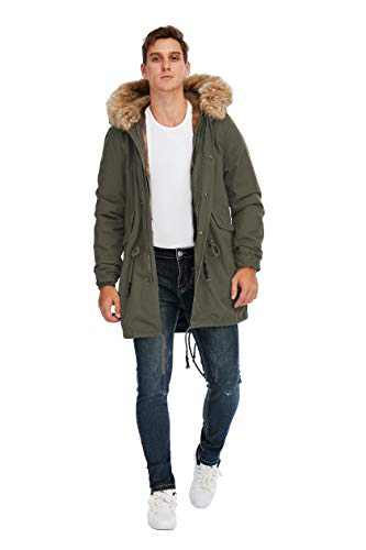 TIENFOOK Men Parka Jacket Winter Coat with Drawstring Waist Thicken Fur Hood Lined Warm Detachable Design Outwear Jacket (Army Green, Large)