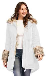 TIENFOOK Womens Parka Jacket Winter Coat with Drawstring Waist Thicken Fur Hood Lined Warm Reversible Design Outwear Jacket (White, Medium)