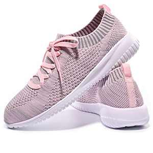 JIUMUJIPU-A04, Women's Lightweight Walking Shoes, Comfortable Walking Shoes with Memory Foam,Flexible Running Shoe (Gray/Pink/A04-10, Numeric_8_Point_5)