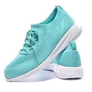 JIUMUJIPU-A04, Women's Lightweight Walking Shoes, Comfortable Walking Shoes with Memory Foam,Flexible Running Shoe (Light Green/A04-6, Numeric_8)