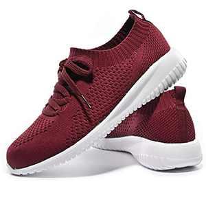 JIUMUJIPU-A04, Women's Lightweight Walking Shoes, Comfortable Walking Shoes with Memory Foam,Flexible Running Shoe (Wine Red/A04-7, Numeric_7)