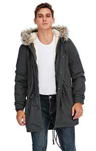TIENFOOK Men Parka Jacket Winter Coat with Drawstring Waist Thicken Fur Hood Lined Warm Detachable Design Outwear Jacket (Dark Grey, X-Small)