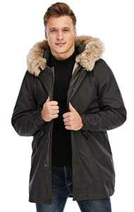 TIENFOOK Men Parka Jacket Winter Coat with Drawstring Waist Thicken Fur Hood Lined Warm Detachable Design Outwear Jacket (Brown, Medium)