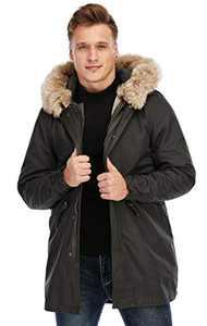 TIENFOOK Men Parka Jacket Winter Coat with Drawstring Waist Thicken Fur Hood Lined Warm Detachable Design Outwear Jacket (Brown, Small)