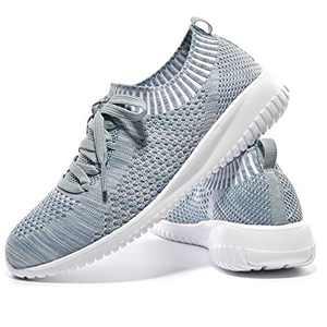 JIUMUJIPU-A04, Women's Lightweight Walking Shoes, Comfortable Walking Shoes with Memory Foam,Flexible Running Shoe (Gray/Green/A04-12, Numeric_9)