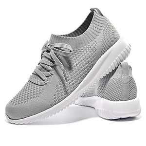 JIUMUJIPU-A04, Women's Lightweight Walking Shoes, Comfortable Walking Shoes with Memory Foam,Flexible Running Shoe (Gray/A04-3, Numeric_9)