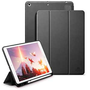 Holidi Case for iPad Pro 10.2 2020/2019 Case (7th/8th Gen), iPad Pro 10.2 inch Case with Apple Pencil Holder, Auto Sleep/Wake, Trifold Stand. Slim Lightweight Protective Case Cover. Black