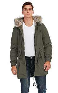 TIENFOOK Men Parka Jacket Winter Coat with Drawstring Waist Thicken Fur Hood Lined Warm Detachable Design Outwear Jacket (A-Army Green, X-Large)