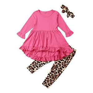 Toddler Baby Girl Solid Ruffled Long Sleeve Skirt Hem Shirt Top Leopard Pants Bow Headband 3Pcs Fall Winter Infants Set (red, 3-4 Years)