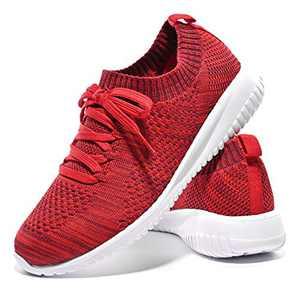 JIUMUJIPU-A04, Women's Lightweight Walking Shoes, Comfortable Walking Shoes with Memory Foam,Flexible Running Shoe (Dark Crimson/White/A04-9, Numeric_7_Point_5)