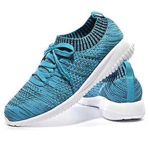 JIUMUJIPU-A04, Women's Lightweight Walking Shoes, Comfortable Walking Shoes with Memory Foam,Flexible Running Shoe (Black/Royal Blue/A04-8, Numeric_7)